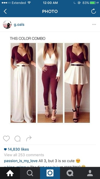 shirt burgundy jeans white crop tops