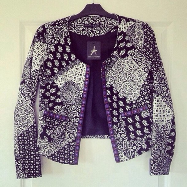 jacket pattern top laze blazer white blach purple chique clash pretty