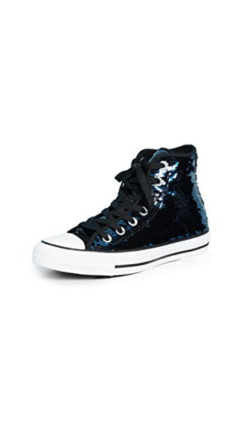 converse high sneakers high top sneakers sequins white black shoes