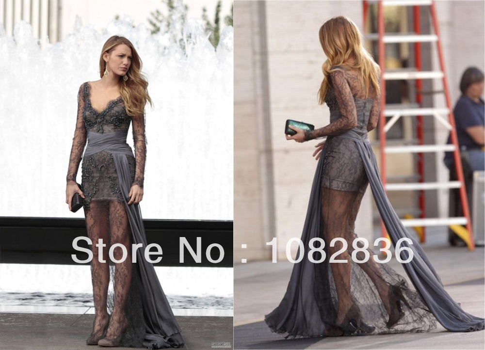 Gossip girl   serena vander woodsen stratight gowns v  neckline floor length lace beaded celebrity dresses