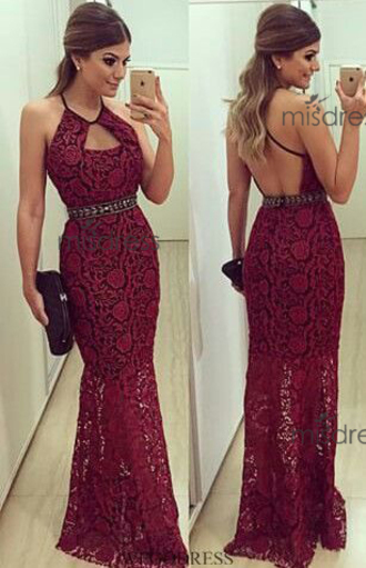 dress sexy lace homecoming dress burgundy prom dress halter lace evening dress beading prom dress mermaid prom dress exquisite women's prom dress