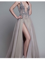 dress,v cut dress,prom dress,prom gown,prom,detailed beading,long dress,sequins,sequin prom dress,grey,brown