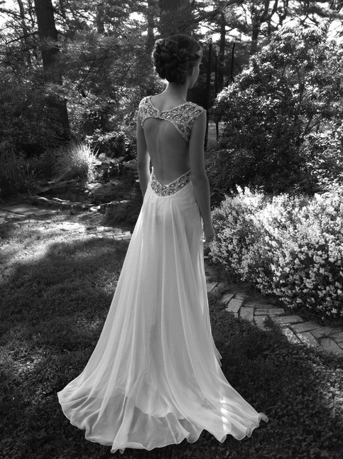 Sweetheart Girl | Custom Made A line Backless White Chiffon Prom Dresses,Wedding Dresses | Online Store Powered by Storenvy