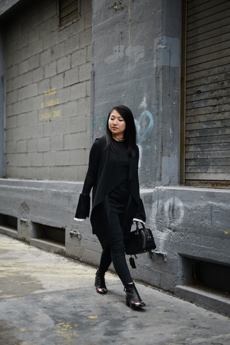 looks by lau blogger jacket top bag shoes jewels all black everything black boots ankle boots winter outfits black bag