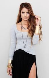 swimwear,grey,sweater,cute,3/4 sleeve,heather grey,crewneck,blouse,skirt