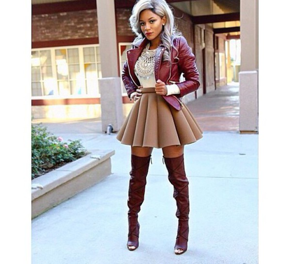 jacket jai nice skirt jai_nice cute skater skirt red jacket cropped jacket silver hair fashion style fashionista knee high boots brown leather boots brown high heels brown brown boots red neutral grey neutral neutral colors i love it ? cute hair shirt skirt shoes jewels