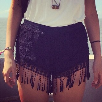 shorts black shorts lace shorts high waisted shorts black lace fringes black lace cute cute shorts summer summer shorts fringe shorts black hippie festival shorts crochet crochet shorts fringe lace crochet shorts