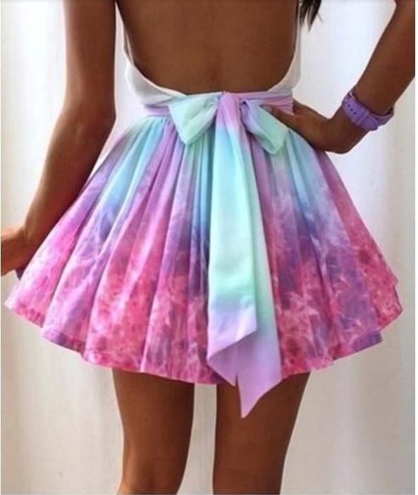 Women full skirted tie dye skater skirt lovegirl fashion irregular galaxy sexy skirt mini ball gown skirts