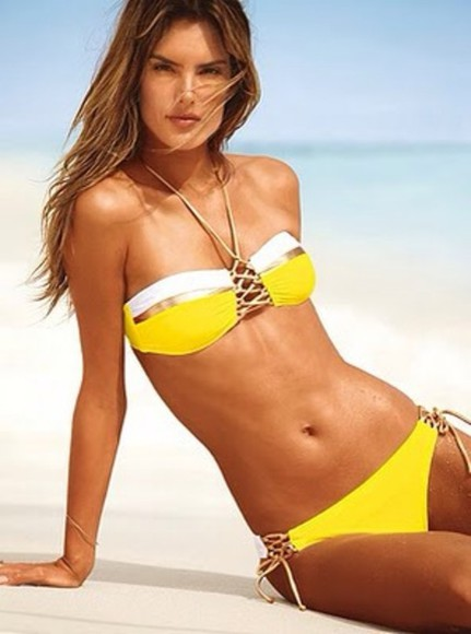 swimwear bikini yellow gold