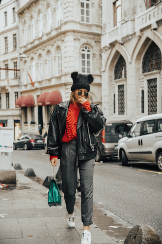 hat tumblr beanie pom pom beanie jacket black jacket leather jacket black leather jacket pants grey pants sneakers white sneakers sweater red sweater
