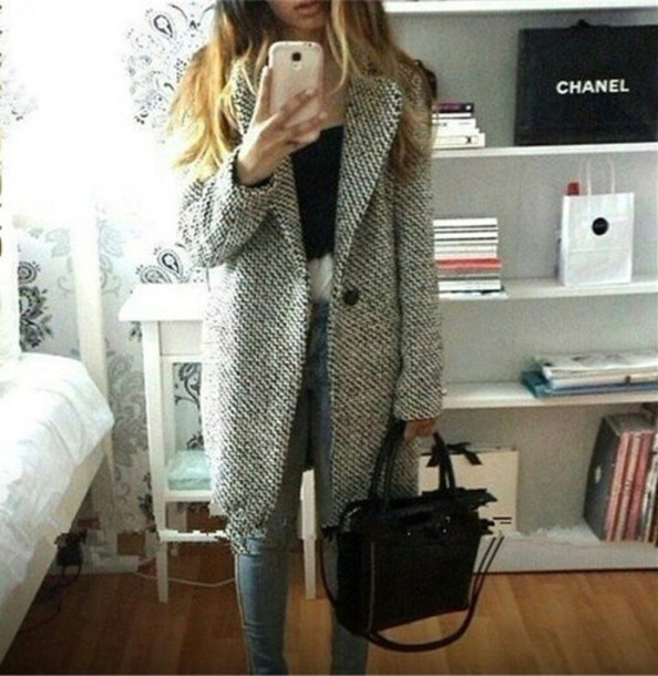coat grey black long jacket