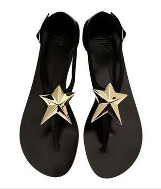 shoes giuseppe zanotti white gold sandals star flip-flops summersandals summerfashion style gz black black and white