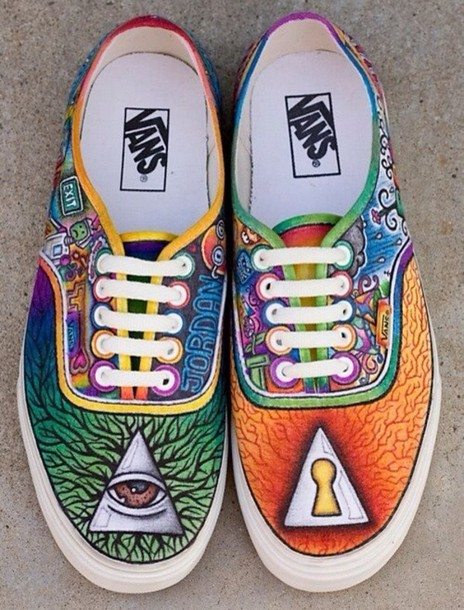 82668172b41d9a shoes colorful vans blu printed vans illuminati