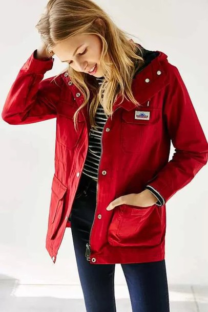 Jacket: red coat rain cold cool winter outfits fall outfits