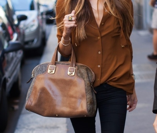 blouse brown leather bag rust shoes clothes bag shirt brown leather bag i would where that is the name on pinterest