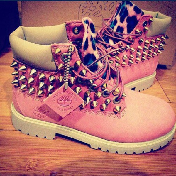shoes pink cheetah studded timberlands custom timberlands spiked timberlands spikes spiked shoes leopard timberlands leopard print dope urban pink timberland pinktimberland studded timberland