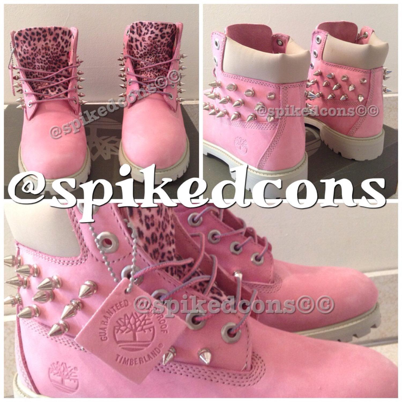 Custom pink timberlands (toddler kids & women)