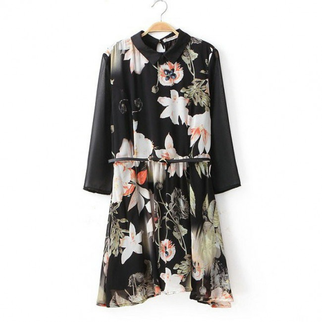 Floral pattern black dress