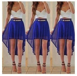 top skirt white crop tops blue skirt