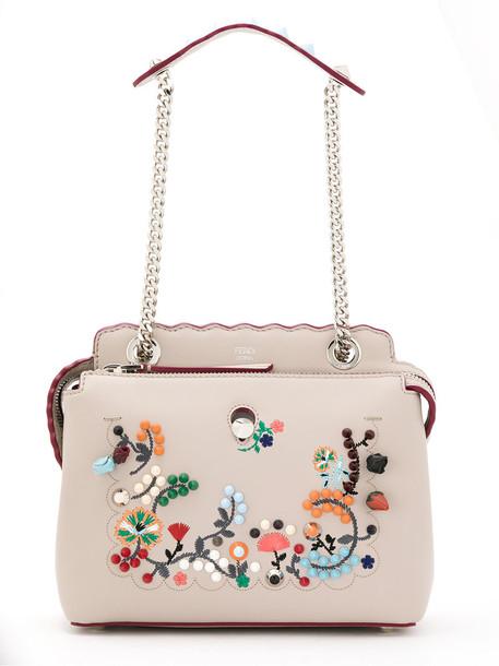Fendi embroidered women bag shoulder bag leather nude