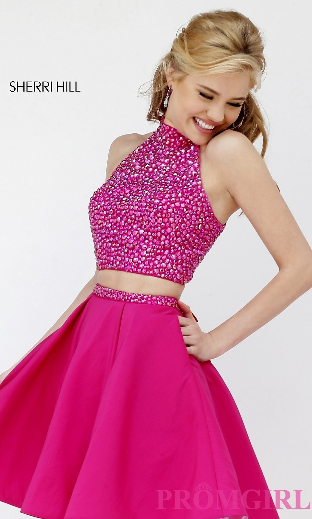 Short Two Piece Beaded Top Homecoming Dress by Sherri Hill ... 951ed350d