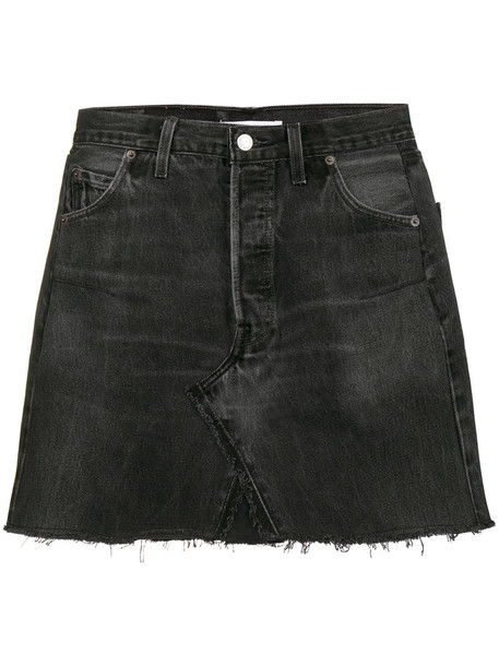 Re/Done skirt denim skirt denim mini high waisted high women cotton black