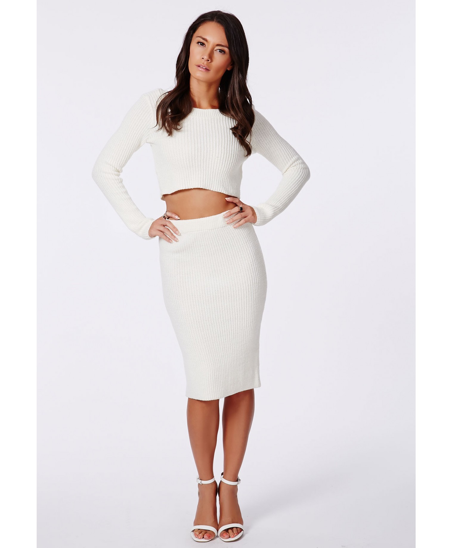 Missguided - Madelynn Knit Midi Pencil Skirt Cream