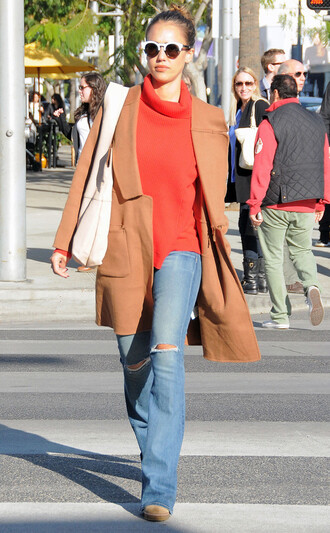 coat camel camel coat jessica alba jeans flare jeans turtleneck sweater fall outfits