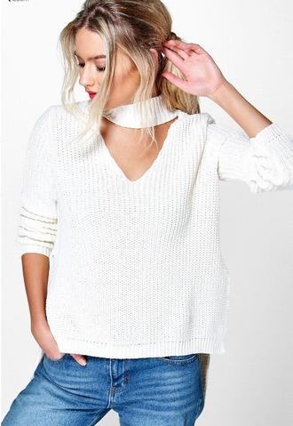 sweater white white sweater choker neckace choker top choker sweater fall outfits back to school