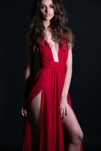 Deep v red dress prom