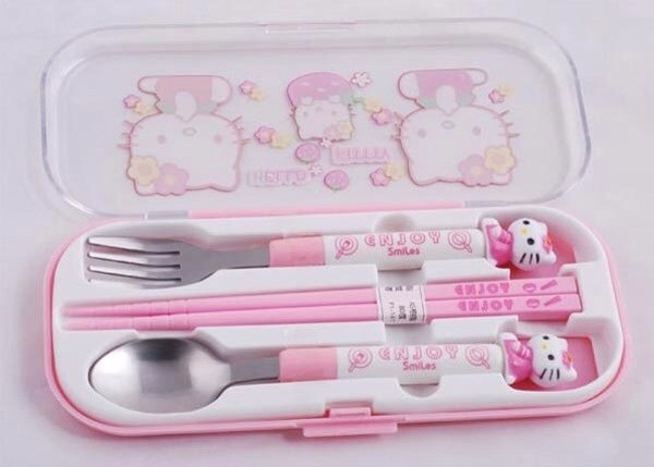 jewels hello kitty silver wear pink kawaii pastel food girly wishlist kitchen dinnerware