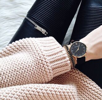 leggings leather zip sweater watch black pink gold silver