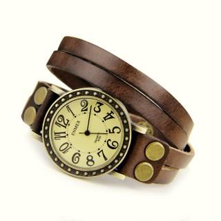 Punk Armbanduhren Damen Leder braun günstige Armbanduhr Quarz Niete Lederarmband