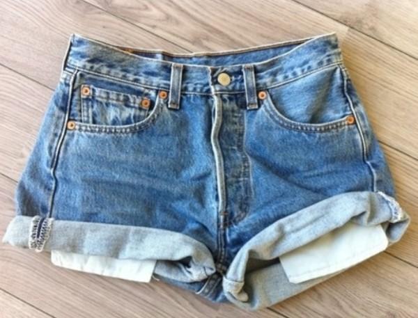 shorts light blue high waisted denim shorts cut off shorts