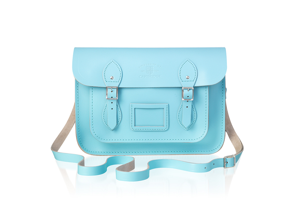 "Cambridge blue leather satchel 13"""