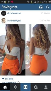 shorts,orange skirt