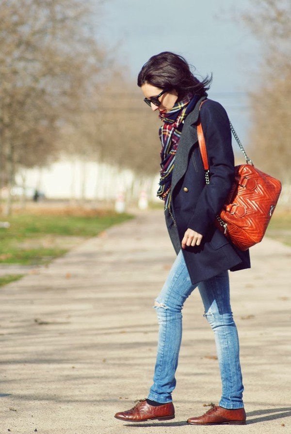 my name is maria scarf coat jeans sweater bag shoes