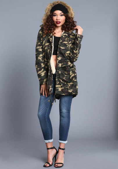 camouflage army green jacket