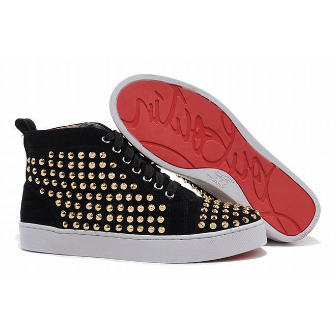 gold flat spikes mens louboutin sneakers black