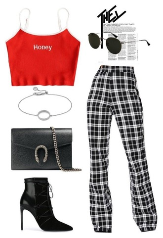 pants black and white plaid