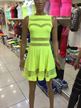 dress neon dress yellow dress mini dress