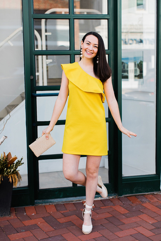 thecollegeprepster blogger dress shoes jewels bag yellow dress clutch one shoulder spring outfits