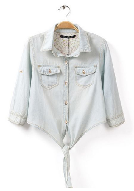 Women's floral lining knot hem golden button denim shirt online