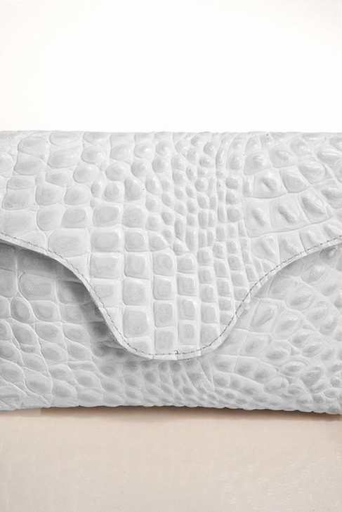 JJ Winters Chain Leather Croco Miley Clutch in Bright White