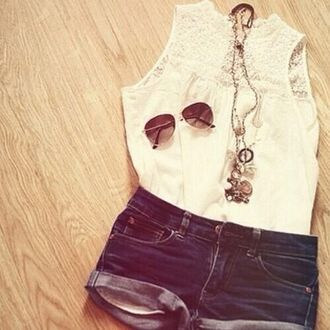 shorts jeans denim white top cuff