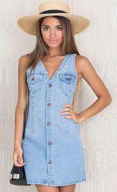 dress,light wash denim,blue,sleeveless,v neck,denim dress,button up,mini