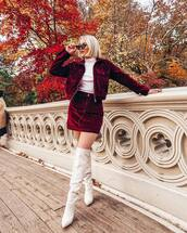 skirt,mini skirt,denim skirt,high waisted skirt,boots,white boots,thigh high boots,jacket,turtleneck,sunglasses