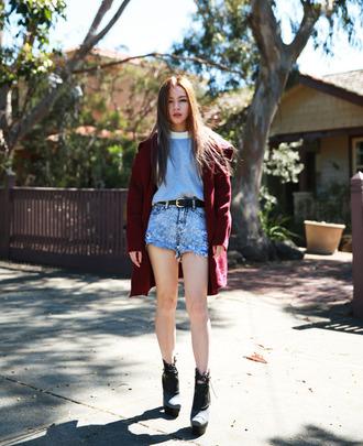 denim shorts sweater coat light blue wedges blogger chloe ting