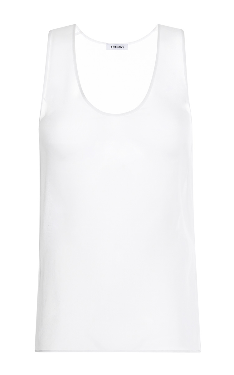White Mousseline Tank Top by Anthony Vaccarello - Moda Operandi