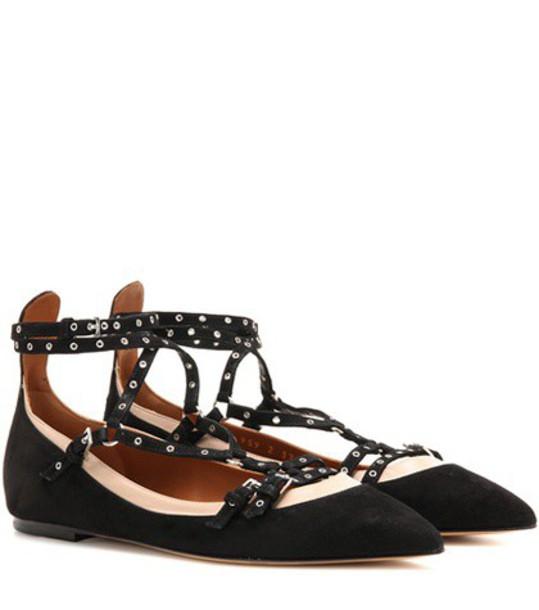 Valentino Embellished Suede Ballerinas in black